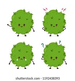 Set of funny smiling happy marijuana weed bud emoticon smileys face.Vector flat cartoon character illustration emotional icon design.Isolated on white background.Weed bud,marijuana, cannabis concept