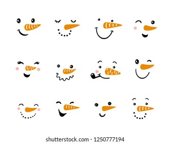 Set of funny snowman faces. Vector snowman illustration. Cartoon faces with different emotions. Winter hand drawn design elements.