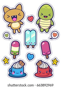 Set of Funny Stickers for Children, Kawaii Animals and Food