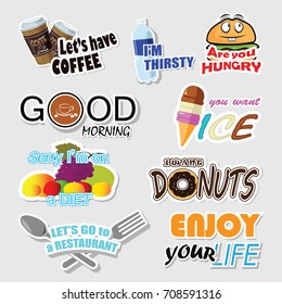 Set of funny stickers for food, fruit and beverages message vector illustration