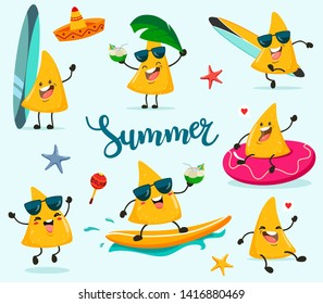 Set of funny summer nachos chips in a cartoon style kawaii. Vector isolated on a blue background.