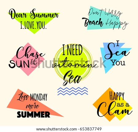 Set Funny Summer Quotes Badges Logo Stock Vector Royalty Free