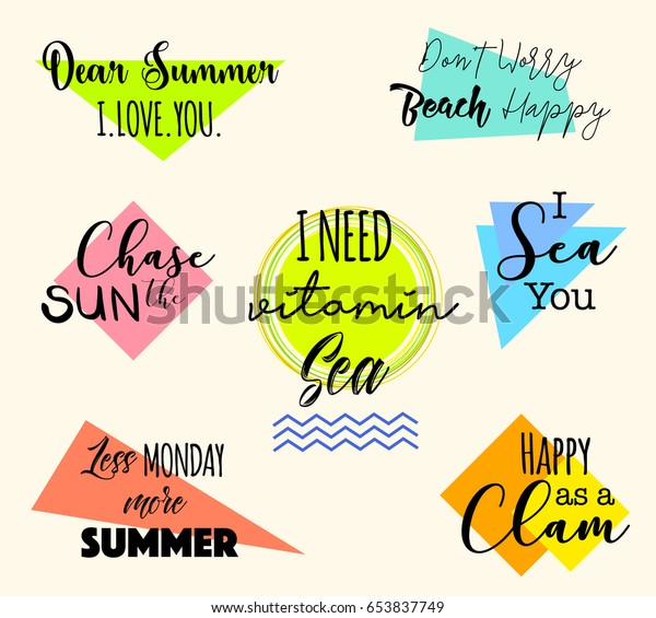 Set Funny Summer Quotes Badges Logo Stock Vector (Royalty ...