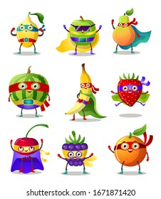 Set of funny superhero humanized characters fruit and berry in masks and capes. Vector illustration in flat cartoon style.
