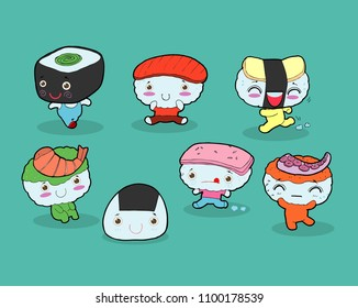 set of Funny sushi characters. Happy cartoon sushi characters. kawaii sushi , Tasty japanese food set. Asian food vector illustration isolated on background