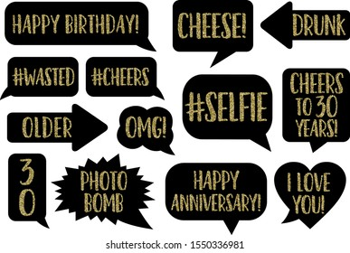 Set of Funny Thirty Birthday photobooth Vector Props On Sticks. Black color with gold glitter text signs photo bomb, selfie, Drunk, Cheese, OMG, Thirty Flirty Dirty, Happy anniversary, cheers!