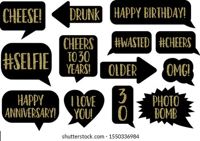 Set of Funny Thirty Birthday photobooth Vector Props On Sticks. Black color with gold glitter text chalkboard signs photo bomb, selfie, Drunk, Cheese, OMG, Thirty Flirty Dirty, Happy anniversary, chee