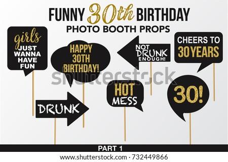 set funny thirty birthday photobooth props のベクター画像素材