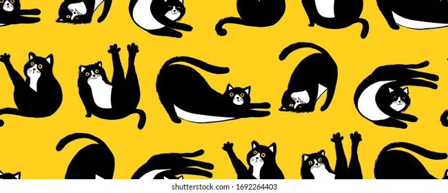 set of funny vector illustrations of cats doing yoga. cute illustration suitable for cards, flyers, print on children`s and adult clothes, mugs,stickers, emoticon