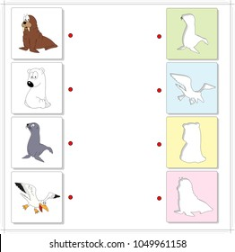 Set of funny walrus, polar bear, seal and sea gull. Educational game for kids. Choose the correct silhouettes on the opposite side and connect the points