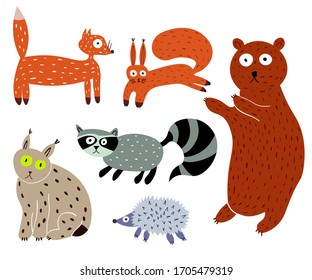 Set of funny woodland animals. Hand drawn cartoon forest characters: bear, racoon, fox, squrrel, hedgehog, lynx. Flat illustrations of wild animals isolated on white background.