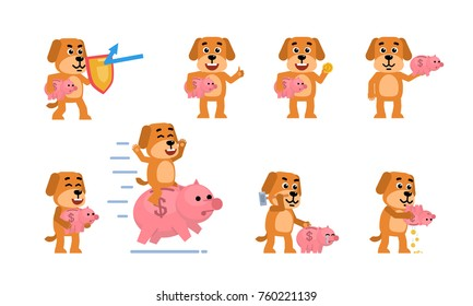 Set of funny yellow dog characters posing with piggy bank in different situations. Cheerful dog saving money, riding big piggy bank and showing other actions. Flat style vector illustration