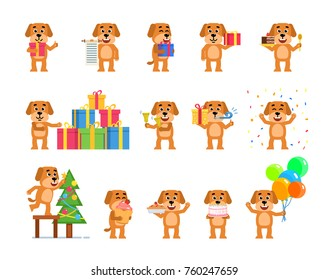 Set of funny yellow dog characters celebrating New Year, Christmas, birhtday. Cheerful dog holding balloons, decorating Christmas tree and showing other actions. Flat style vector illustration