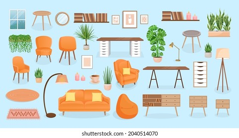 Set of furniture for the bedroom, hallway, living room, office. Collection of items for the interior of an apartment, office, home. Vector illustration in flat cartoon style. Housing elements.