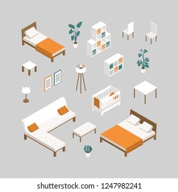 Set of furniture for bedroom, nursery, living room, kitchen in isometry. Furniture for interior design of residential and office premises: bed, sofa, couch,  table, plants, chair, wardrobe, lamp, cot