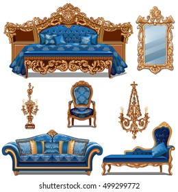 A set of furniture blue color for vintage interior isolated on white background. Vector illustration.