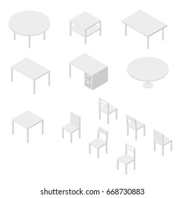 Set of Furniture, Chairs and Tables. Isometric Drawing Vector.