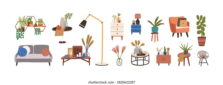 Set of furniture and decor elements vector flat illustration. Collection of home decorations for cosiness interior isolated. Stylish chest of drawers, couch, houseplant, armchair, lamp and table