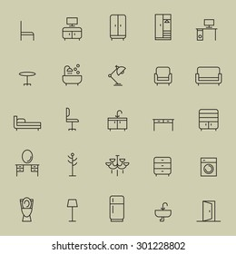 Set of furniture icon.