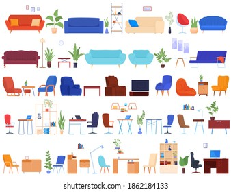 Set of furniture for the interior. Bedside tables, shelves. armchairs, sofas. Cozy home furniture. Houseplants. isolated vector illustration