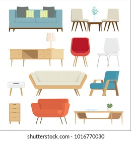 Set of furniture Interior and home accessories. Sofas with pillows, lamps isolated background. vector illustration