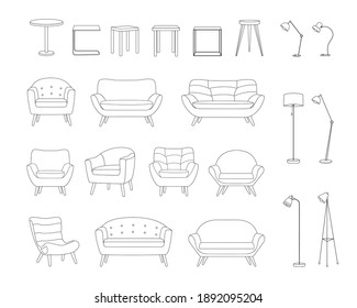 Set of furniture for a living room or office in outline style. Sofa, armchair, lamp, table. Items for the design of the apartment are drawn with a black line. Vector illustration isolated on white