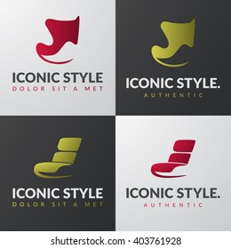 Set of furniture logo templates. Modern armchair design concepts. Lounge iconic chair sign. Home decor logotype.