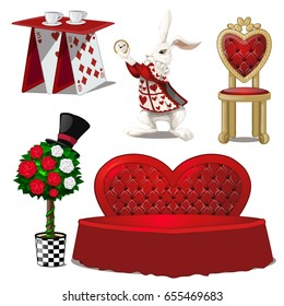 A set of furniture on the theme of fairy tales. Card table, upholstered sofa in the shape of hearts and the white rabbit isolated on white background. Vector cartoon close-up illustration.