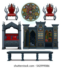 A set of furniture red and black color for vintage interior in the Gothic style isolated on white background. The secret exit behind the closet door. Vector illustration close-up.