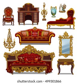 A set of furniture red color for vintage interior isolated on white background. Vector illustration.
