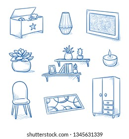 Set of furniture shop and decoration objects as chair, wardrobe, painting, floor mat, book shelf, succulent and toy box. Concept for modern interior. Hand drawn line art cartoon vector illustration.
