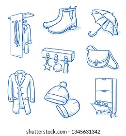 Set of furniture shop and fashion objects as coat rack, shoe cabinet, umbrella, coat, hat, boot, key hooks and handbag. Concept for modern interior. Hand drawn line art cartoon vector illustration.
