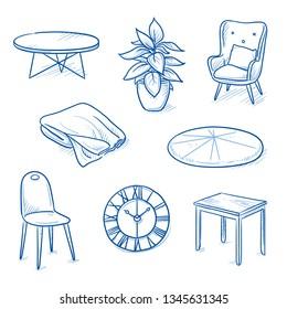 Set of furniture shop objects as chair, table, clock, blanket, plant. Concept for modern interior. Hand drawn line art cartoon vector illustration.