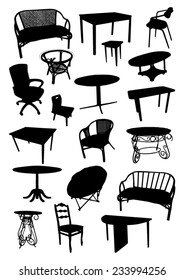 Set of furniture silhouettes