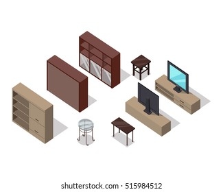 Set of furniture vectors in isometric projection. Rack, TV stand, tea tables, illustrations for stores ad, app icons, infographics, logo, web and games environment design. Isolated on white background