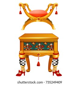 Set of furniture in vintage style isolated on white background. Chair in Egyptian style of Cleopatra with tassel and lion paw, commode with drawer and legs form of human foot. Vector cartoon close-up.