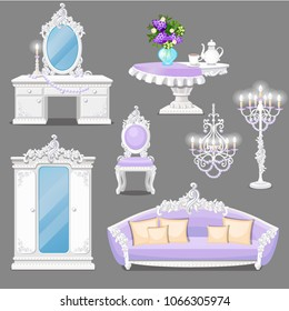 Set of furniture white and pink color for vintage style interior isolated on a grey background. Vector cartoon close-up illustration.
