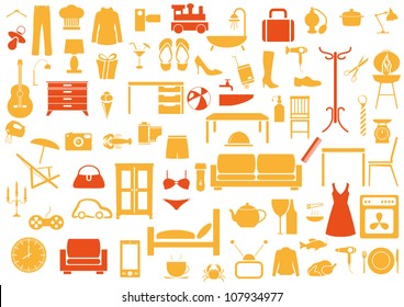 Set of furniture,fashion,kitchen,bath icons