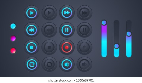 Set of Futuristic Audio Playback icon