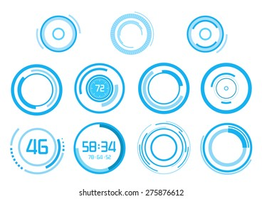 Set of futuristic blue vector elements on white background