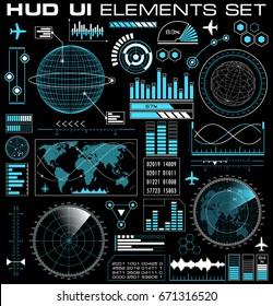 Set of futuristic graphic user interface HUD. Infographic design UI elements and radar screens. Vector illustration.
