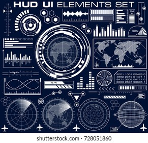 Set of futuristic graphic user interface HUD. Infographic design UI elements and radar screens. Head up display vector illustration