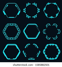Set of futuristic hexagons for hud interface.Vector illustration.