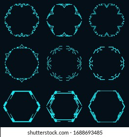 Set of futuristic hexagons for hud interface.Vector elements for technological design.