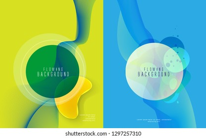 Set of Futuristic Neon Waves and Circles Template . Modern and Abstract Background. Stock Vector Illustration. Minimalist Creative Design Concept