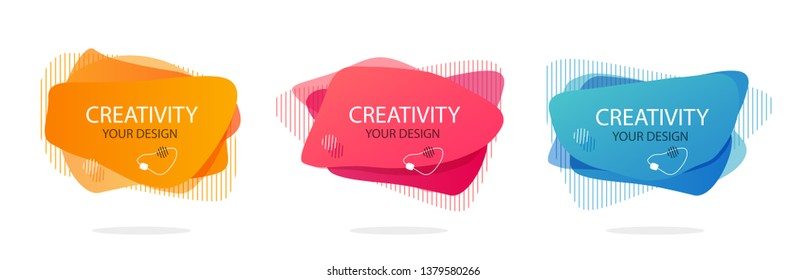 Set of futuristic trendy dynamic elements. Abstract background. Abstract vector gradient elements for logo, banner, flyer or presentation. Eps10 vector.