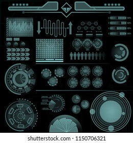 Set of Futuristic user interface Elements. HUD. hi-tech main. ui design hologram screens. Abstract technology background communication concept digital innovation background vector illustration