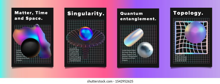 Set of futuristic vaporwave vector posters for scientific conference or academic meeting. Conceptual illustration of quantum subatomic particles, time and space distortion by black hole and wormhole.