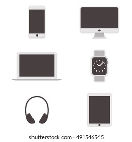 Set of gadget icons. Monitor, laptop, watches, tablet, smartphone, headphone flat design.