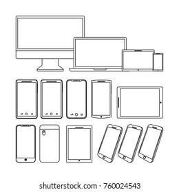 set of gadgets technologies digital responsive electronic